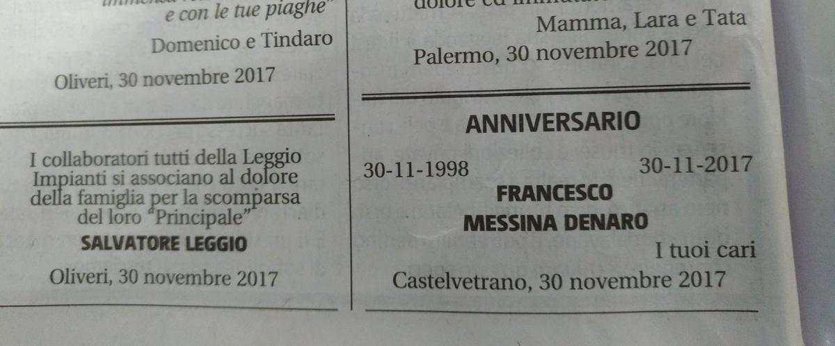E il Giornale di Sicilia pubblica il necrologio di Don Ciccio