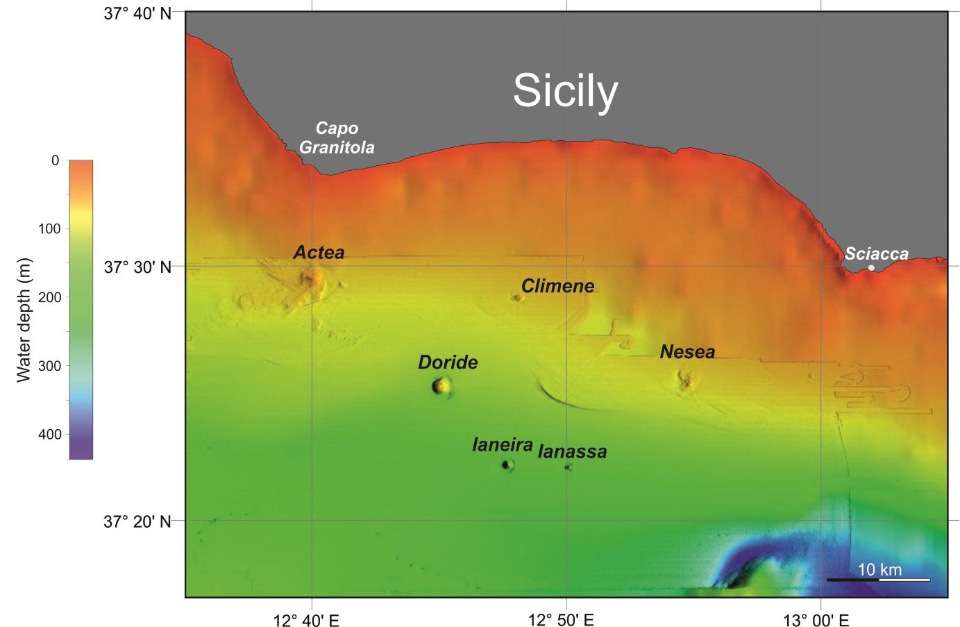 Nuovi vulcani sottomarini individuati a pochi chilometri dalle coste della Sicilia.