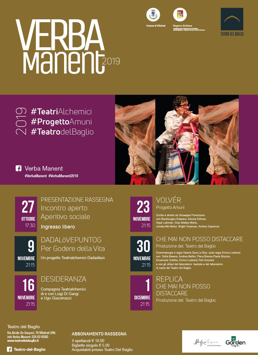 Verba Manent: con un aperitivo sociale parte la quarta edizione della rassegna di contemporaneo del Teatro del Baglio