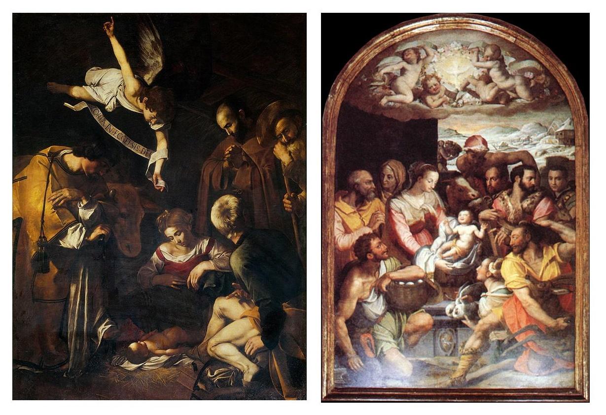 """Carini, """"Dies Natalis"""": confronto tra la tela l'Adorazione di pastori di Alessandro Allori e la Natività di Caravaggio."""