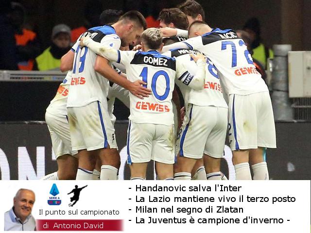 Handanovic salva l'Inter. Arriva la decima per la Lazio. Juve campione d'inverno