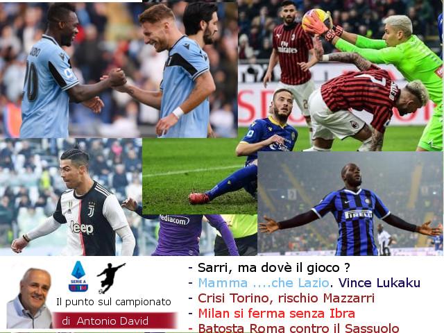 Sarri, ma dov'è il gioco ? Mamma…. che Lazio. Crisi Toro. Milan si ferma a San Siro