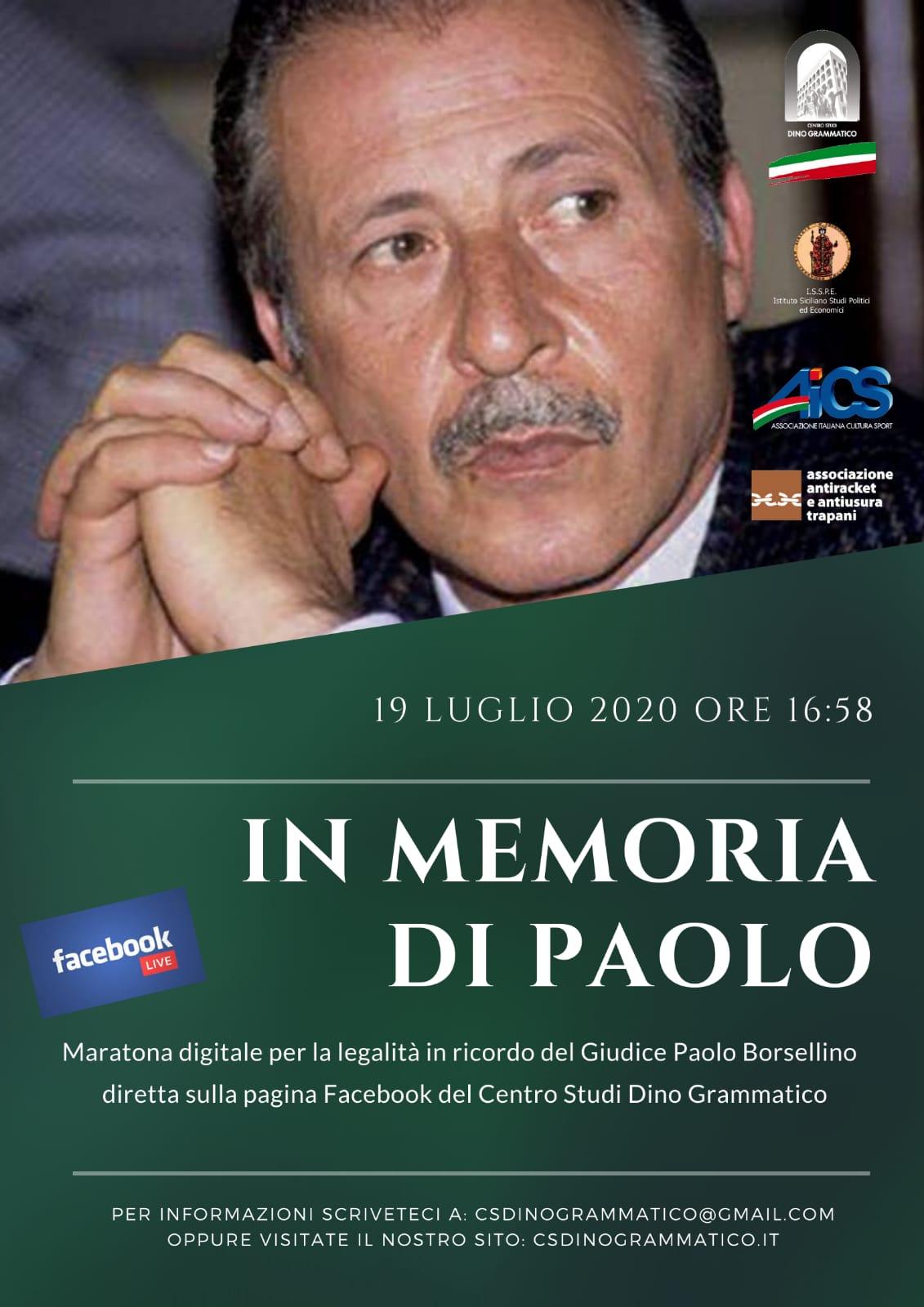 «In memoria di Paolo» una maratona digitale per ricordare il Giudice Borsellino.
