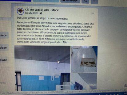 INFILTRAZIONI D'ACQUA AL LICEO AMALDI: URGE IN CITTA' UN ASSESSORATO ALLA PUBBLICA ISTRUZIONE.