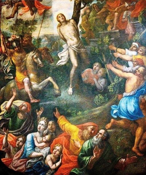"""Palazzolo Acreide, si presenta il dipinto: """"Martirio di S. Sebastiano""""."""