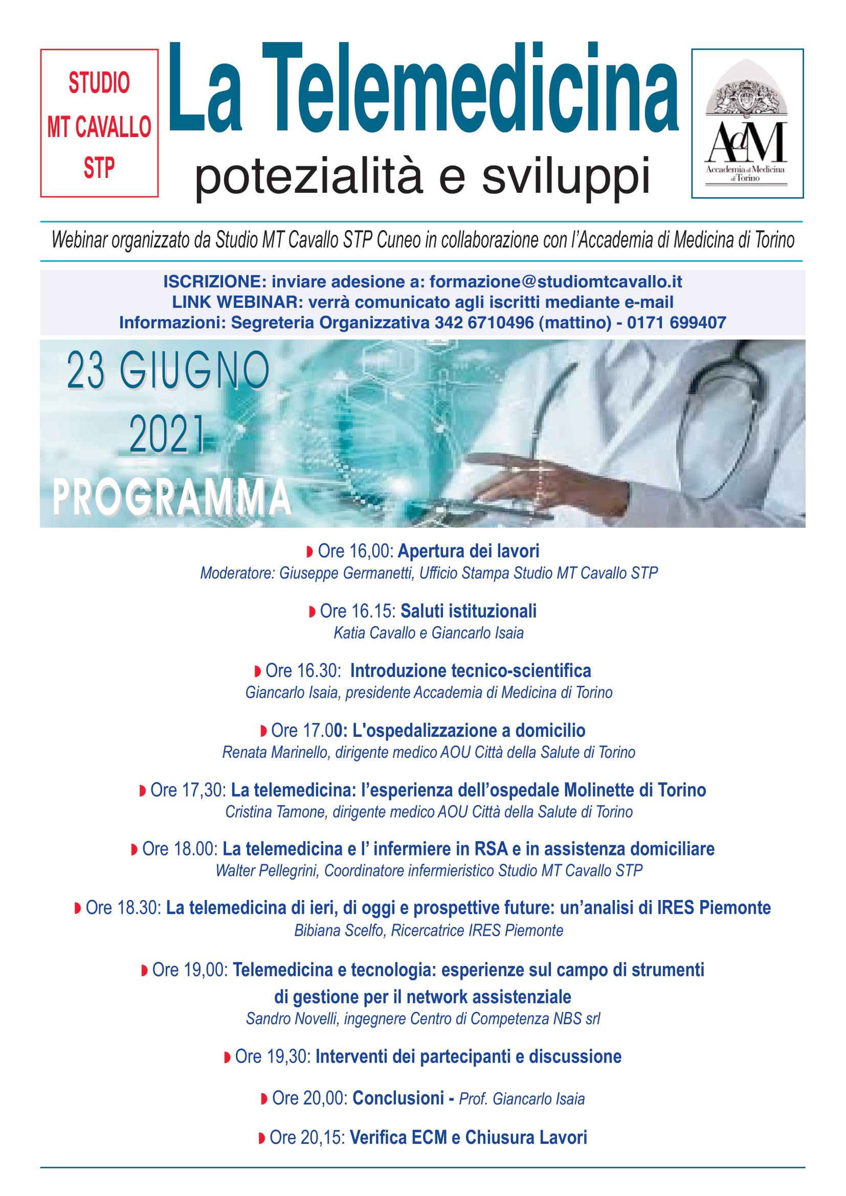 """L'Accademia di Medicina di Torino, organizza un convegno sul tema """"Telemedicina: potenzialità e sviluppi"""""""