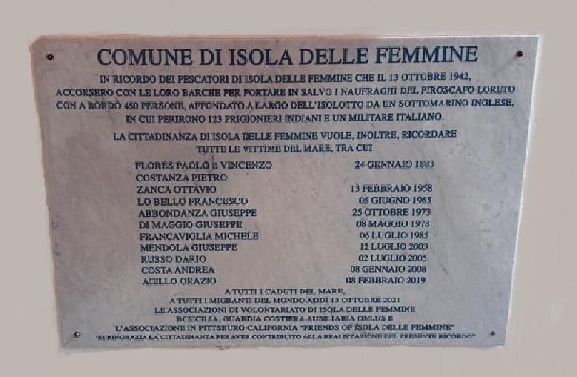 Isola delle Femmine, scopertura lapide nel 79° anniversario dell'affondamento del piroscafo Loreto.